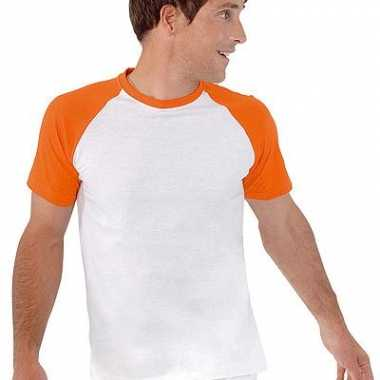 Baseball t-shirt wit/oranje