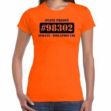 Carnavalskleding isolation cel boeven / gevangenen shirt oranje dames
