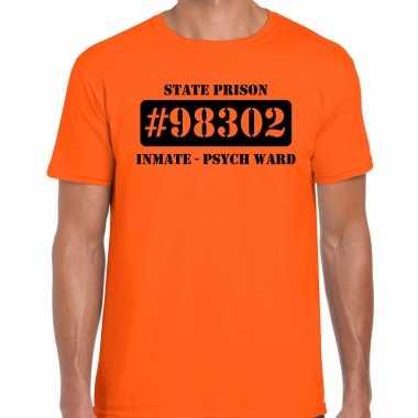 Carnavalskleding psych ward boeven / gevangenen shirt oranje heren
