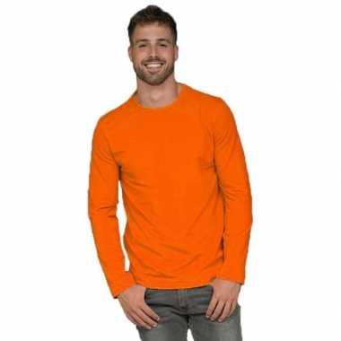 Fel oranje t-shirt lange mouwen