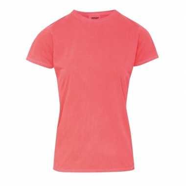 Getailleerde dames t shirt ronde hals oranje