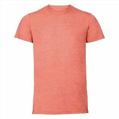 Getailleerde heren t shirt ronde oranje