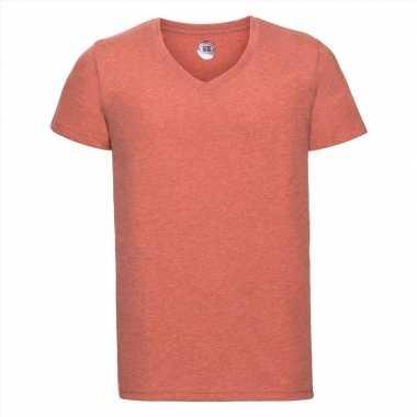 Getailleerde heren t shirt v hals oranje