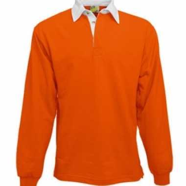Heren Oranje rugbyshirt witte kraag