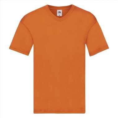 Heren t-shirt v hals oranje