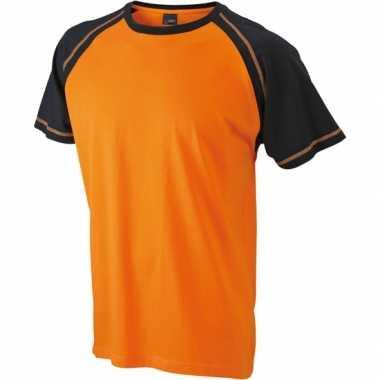 Heren t-shirts oranje/zwart