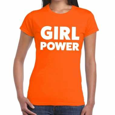 Oranje girl power t shirt dames