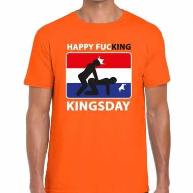 Oranje happy fucking kingsday t shirt heren