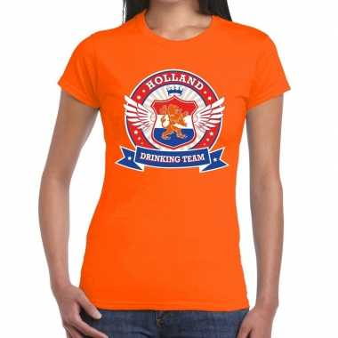 Oranje holland drinking team t shirt dames