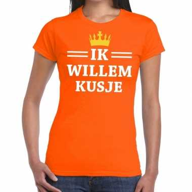 Oranje ik willem kusje t shirt dames