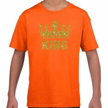 Oranje king gouden glitter kroon t shirt kinderen