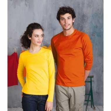 Oranje shirt lange mouwen plus
