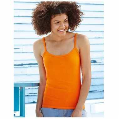 Oranje shirtje spaghetti band