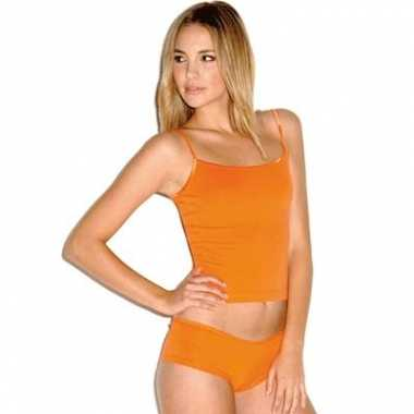 Oranje straps shirtjes dames