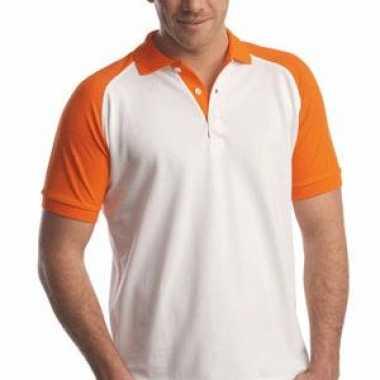 Poloshirt wit oranje mouwen