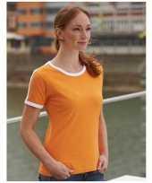 Oranje wit contrast dames shirt
